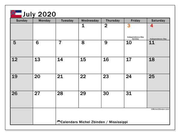 July 2020 Calendar, with the Mississippi holidays. Free printable calendar with public holidays.