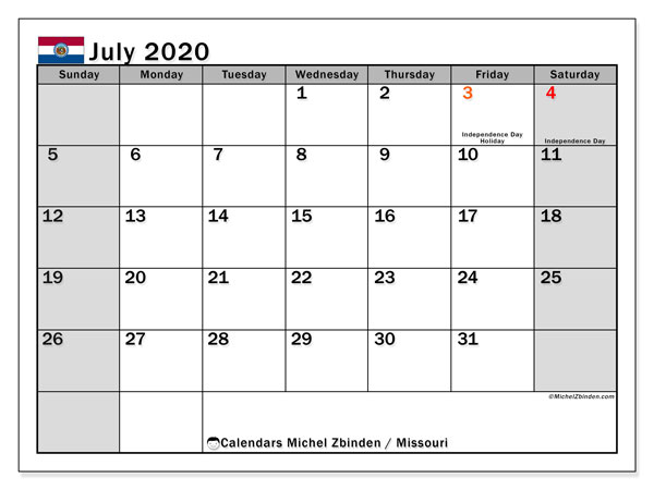 July 2020 Calendar, with the holidays of Missouri. Holidays calendar to print free.