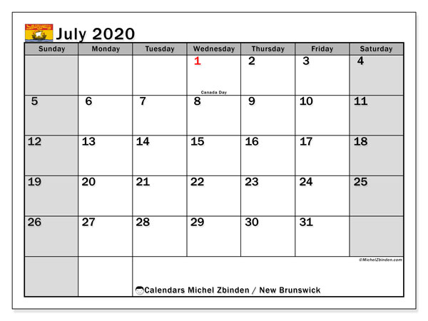 July 2020 Calendar, with the holidays of New Brunswick. Free printable calendar with public holidays.