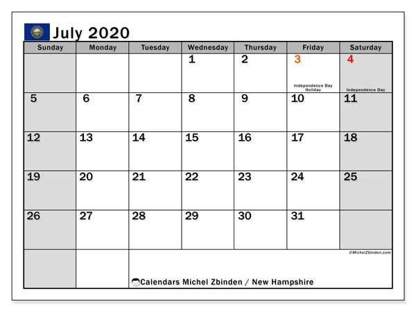 Calendar July 2020 - New Hampshire. Public Holidays. Monthly Calendar and free printable schedule.