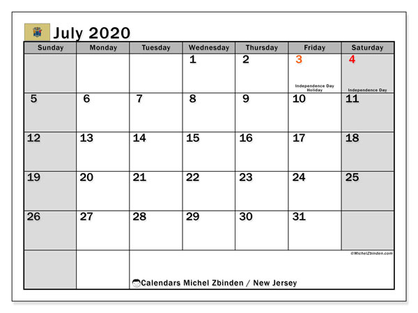 July 2020 Calendar, with the holidays of New Jersey. Holidays calendar to print free.