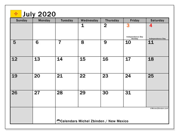 July 2020 Calendar, with the holidays of New Mexico. Holidays calendar to print free.