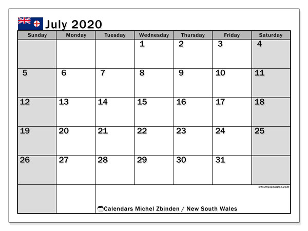 July 2020 Calendar, with the holidays of New South Wales. Holidays calendar to print free.