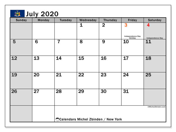 July 2020 Calendar, with the holidays of New York. Free printable calendar with public holidays.