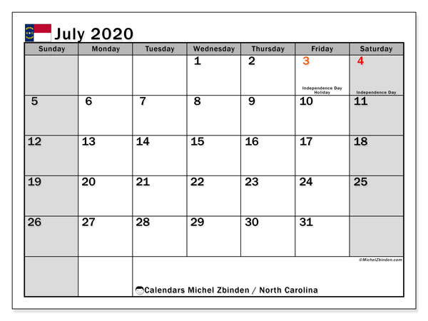 July 2020 Calendar, with the holidays of North Carolina. Free printable calendar with public holidays.
