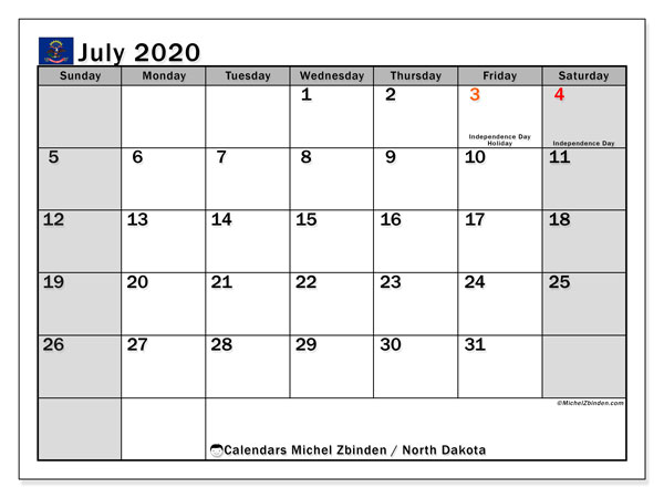 July 2020 Calendar, with the holidays of North Dakota. Free printable calendar with public holidays.