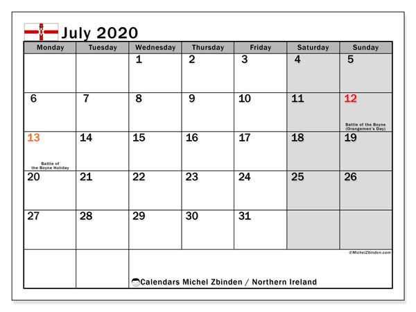 Calendar July 2020, with the holidays in Northern Ireland. Free printable monthly planner.