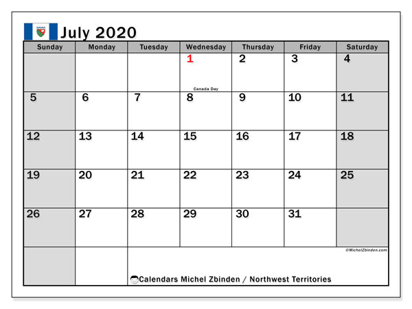 July 2020 Calendar, with the holidays of Northwest Territories. Free printable calendar with public holidays.