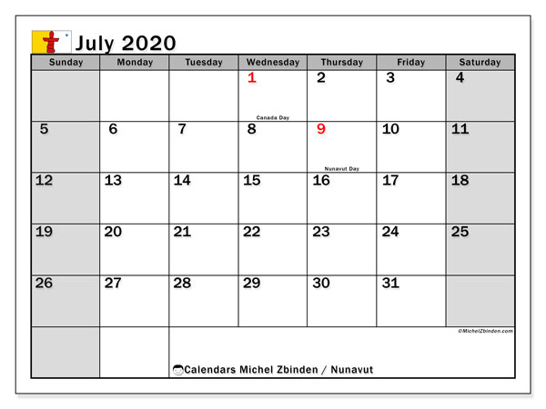 July 2020 Calendar, with the holidays of Nunavut. Holidays calendar to print free.