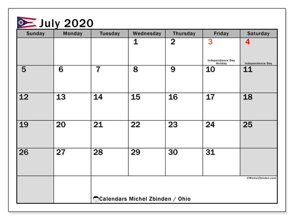 July 2020 Calendar, with the holidays of Ohio. Holidays calendar to print free.