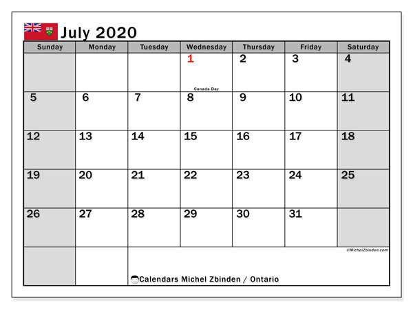 July 2020 Calendar, with the holidays of Ontario. Holidays calendar to print free.