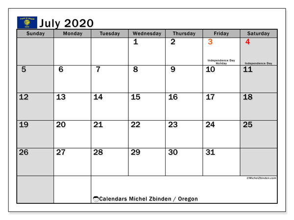 July 2020 Calendar, with the holidays of Oregon. Holidays calendar to print free.