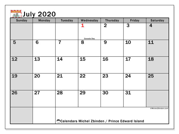 July 2020 Calendar, with the holidays of Prince Edward Island. Holidays calendar to print free.