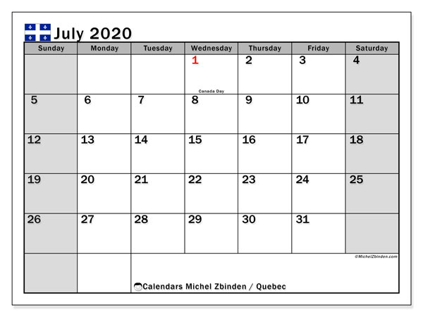 July 2020 Calendar, with the holidays of Quebec. Free printable calendar with public holidays.