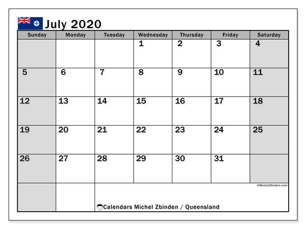 July 2020 Calendar, with the holidays of Queensland. Free printable calendar with public holidays.