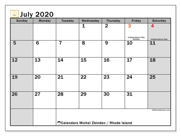 Calendar July 2020 - Rhode Island. Public Holidays. Monthly Calendar and bullet journal to print free.