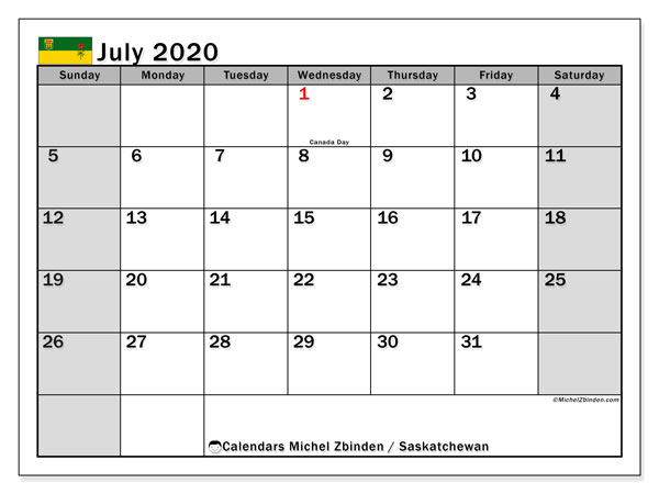 July 2020 Calendar, with the holidays of Saskatchewan. Free printable calendar with public holidays.