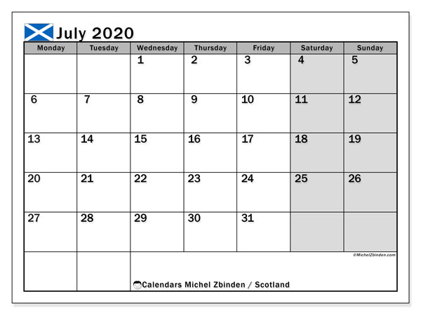 July 2020 Calendar, with the holidays of Scotland. Free printable calendar with public holidays.