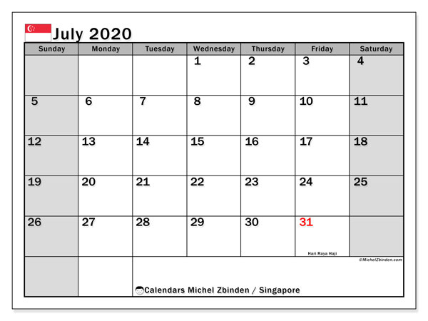 July 2020 Calendar, with the holidays of Singapore. Holidays calendar to print free.
