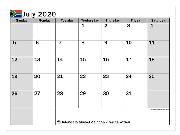 Printable July 2020 Calendar, South Africa