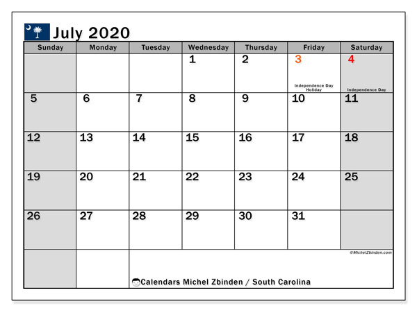 July 2020 Calendar, with the holidays of South Carolina. Holidays calendar to print free.