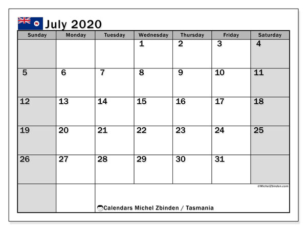 July 2020 Calendar, with the holidays of Tasmania. Free printable calendar with public holidays.