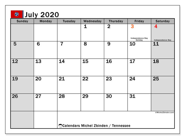 July 2020 Calendar, with the holidays of Tennessee. Holidays calendar to print free.
