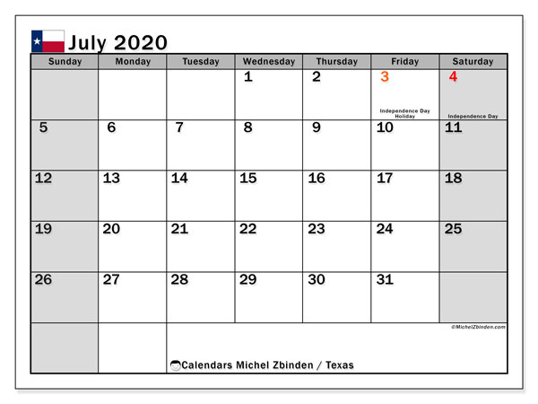 July 2020 Calendar, with the holidays of Texas. Holidays calendar to print free.