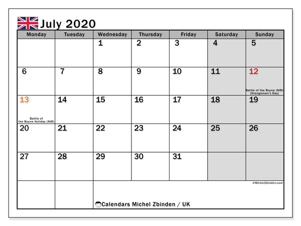 Printable July 2020 Calendar, UK