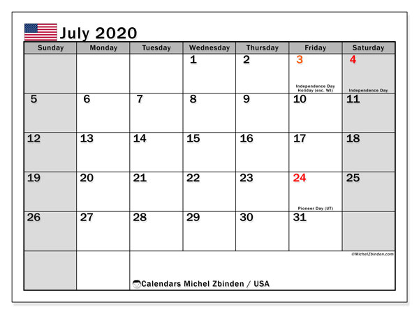 July 2020 Calendar, with the holidays of the USA. Holidays calendar to print free.