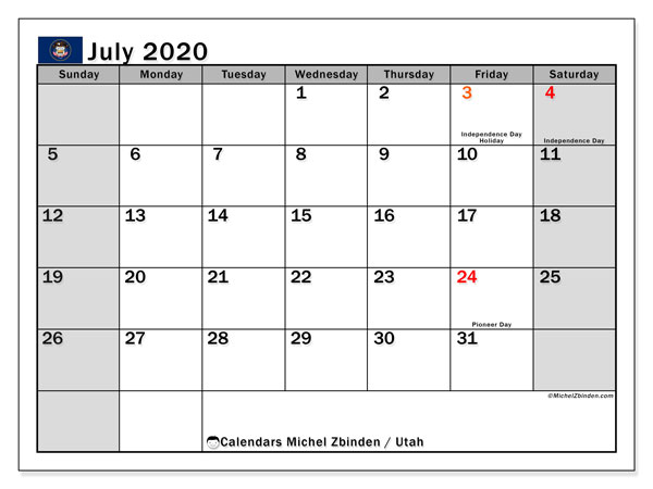 July 2020 Calendar, with the holidays of Utah. Holidays calendar to print free.