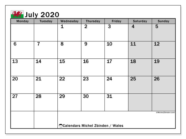 July 2020 Calendar, with the holidays of Wales. Free printable calendar with public holidays.