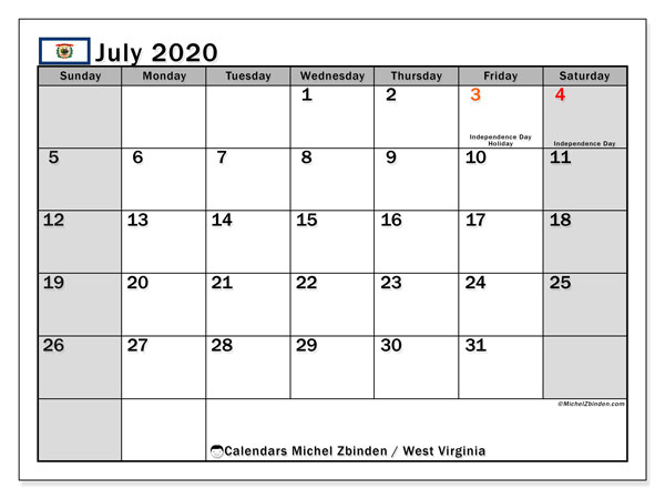 Calendar July 2020 - West Virginia. Public Holidays. Monthly Calendar and planner to print free.