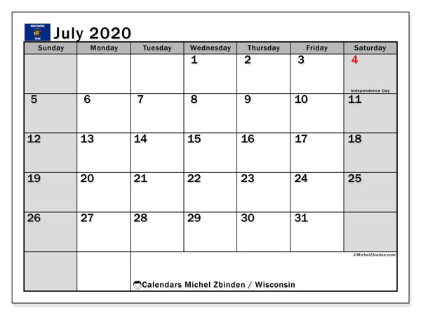 July 2020 Calendar, with the holidays of Wisconsin. Free printable calendar with public holidays.