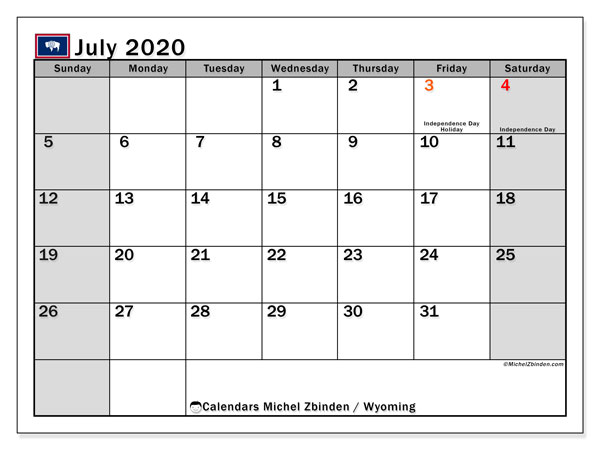 July 2020 Calendar, with the holidays of Wyoming. Holidays calendar to print free.