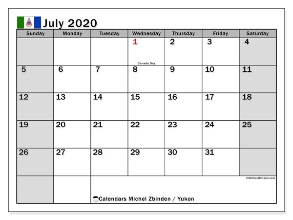July 2020 Calendar, with the holidays of Yukon. Free printable calendar with public holidays.