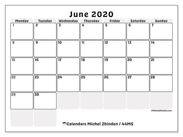 Calendar June 2020 - 44MS. The right boxes. Monthly Calendar and free printable agenda.