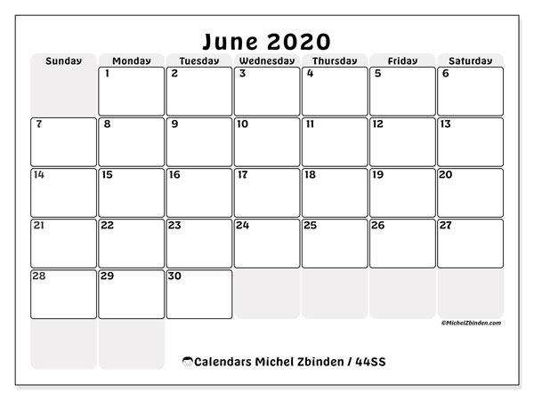 Printable calendars, June 2020, Sunday - Saturday