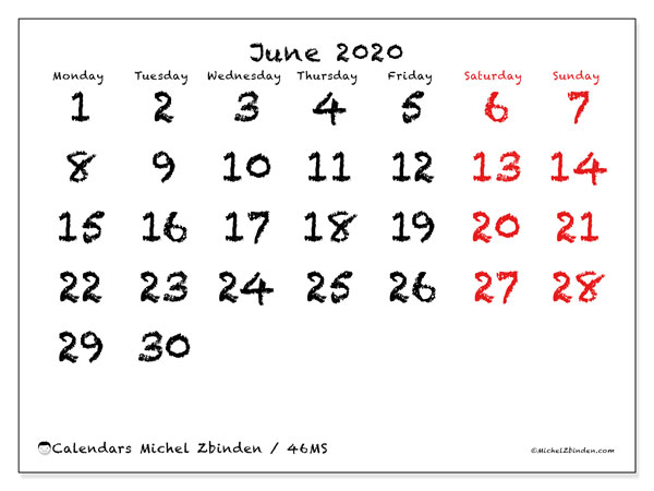 June 2020 Calendar, 46MS. Calendar for the month to print free.