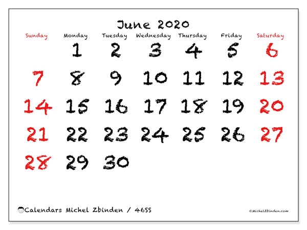 June 2020 Calendar, 46SS. Bullet journal to print free.