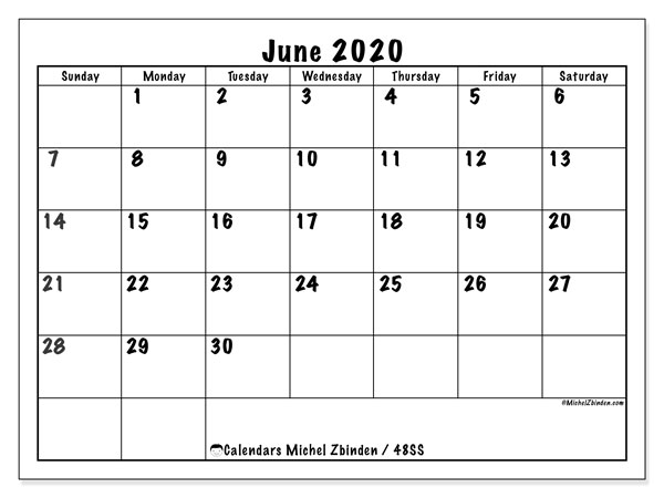 Calendar June 2020 - 48SS. Marker style. Monthly Calendar and free bullet journal to print.