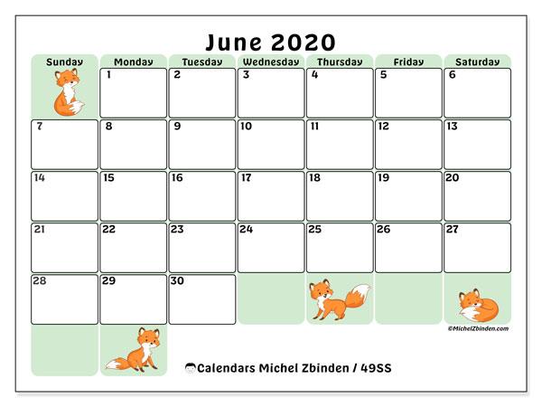 June 2020 Calendar, 49SS. Free bullet journal to print.