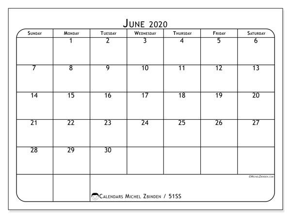June 2020 Calendar, 51SS. Planner to print free.