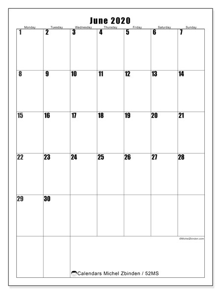 June 2020 Calendar, 52MS. Free planner to print.