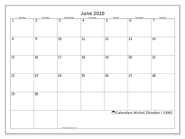 June 2020 Calendar, 53MS. Free printable monthly planner.