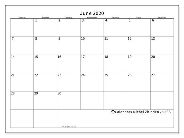 June 2020 Calendar, 53SS. Free printable planner.