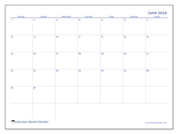 June 2020 Calendar, 55MS. Free bullet journal to print.