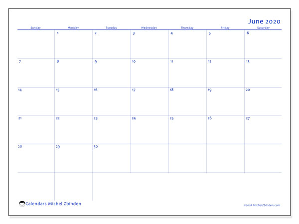 June 2020 Calendar, 55SS. Monthly planner to print free.