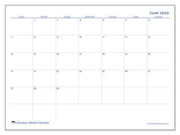 June 2020 Calendar, 55SS. Free printable monthly calendar.