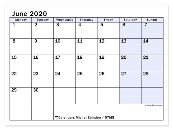 June 2020 Calendar, 57MS. Free planner to print.